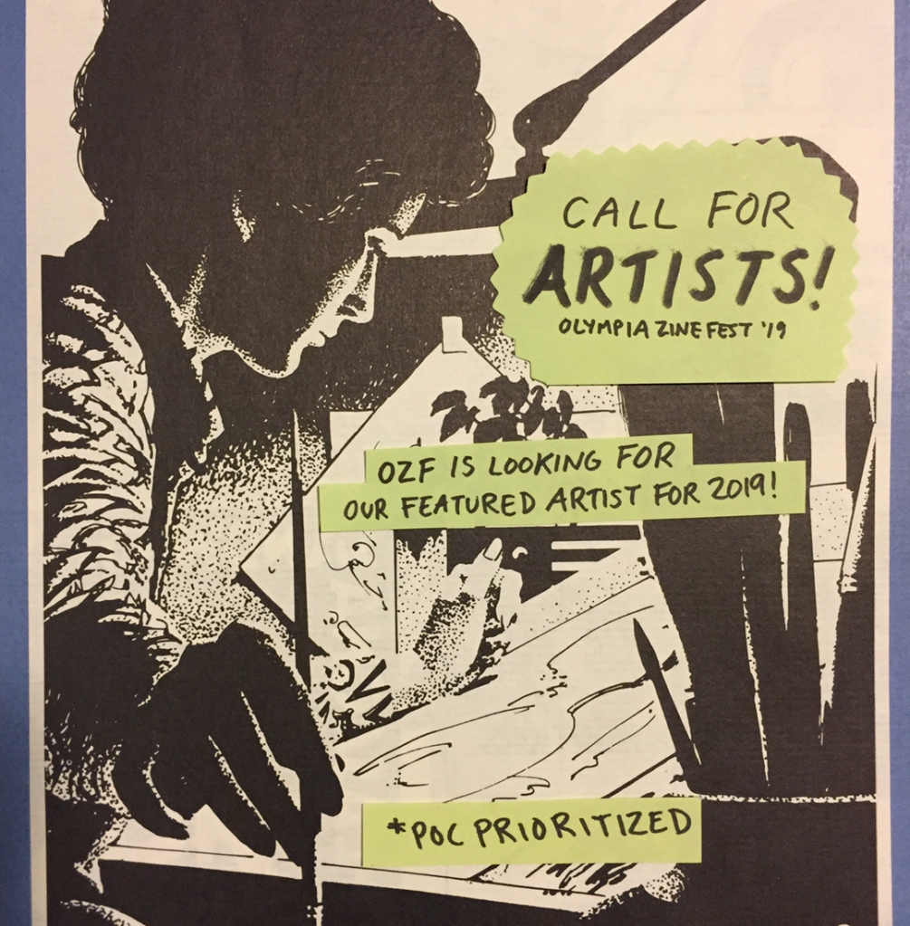 Call for artists flyer with an image of a person with a paint brush.